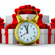 Alarm clock and white gift box. Isolated 3D image — Foto de Stock