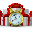Alarm clock and white gift box. Isolated 3D image — Stock Photo