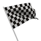 Bandeira quadriculada acabamento em fundo branco. imagem 3d isolada — Foto Stock