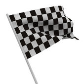 Finishing checkered flag on white background. Isolated 3D image — Stok fotoğraf