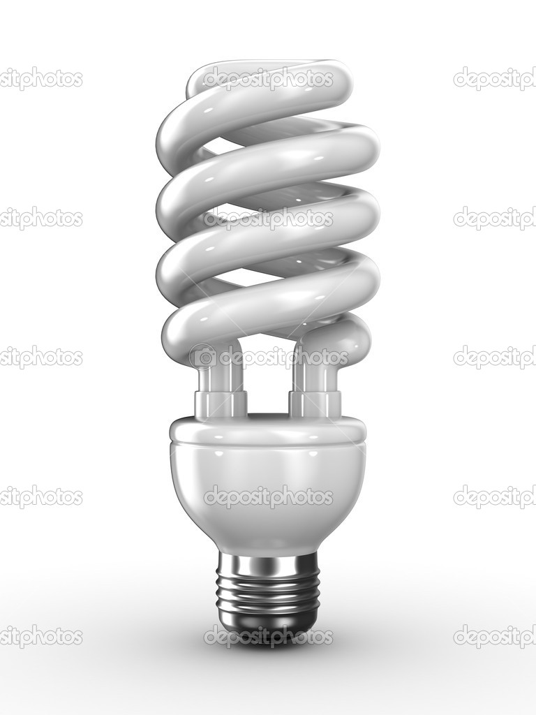 Energy saving bulb on white background. Isolated 3D image  Stock Photo #4298957