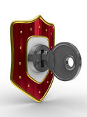 Red shield with key. isolated 3D image — Stock Photo