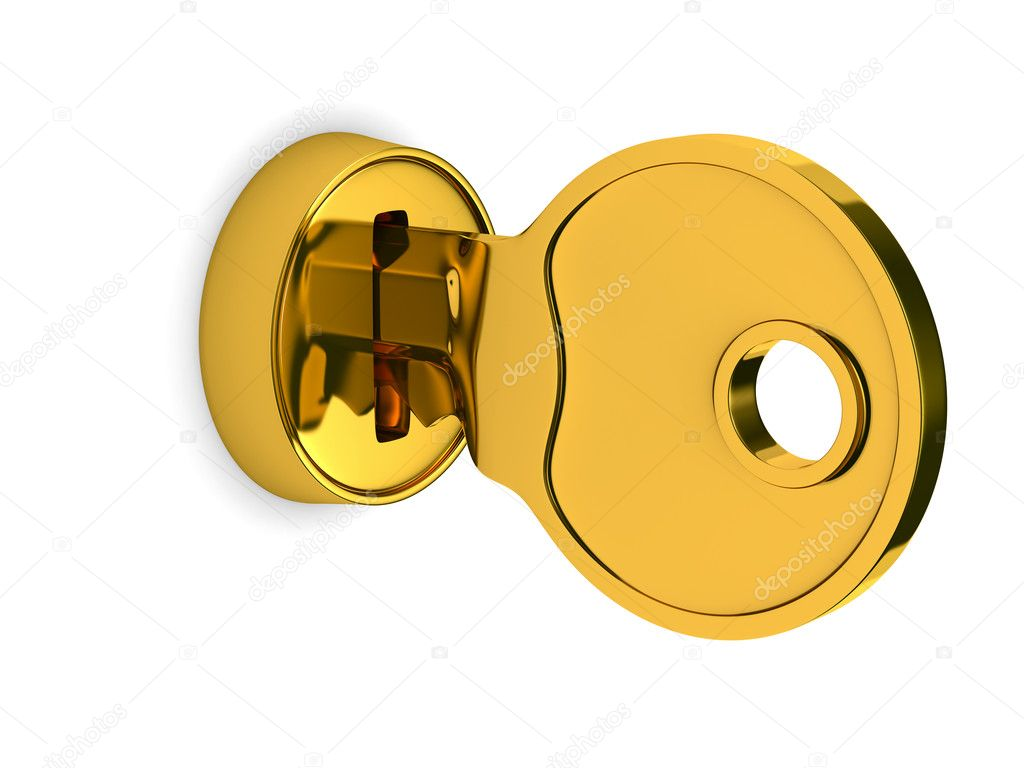 Isolated Key And Lock On White Background 3d Image
