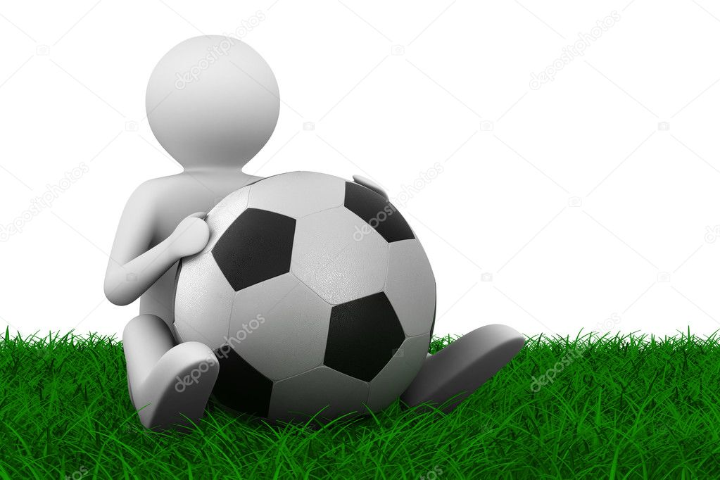 Soccer player with ball on grass. Isolated 3D image — Stock Photo #4414853