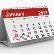 2012 year calendar. January. Isolated 3D image — Stock Photo
