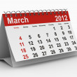 2012 year calendar. March. Isolated 3D image - Stock Photo