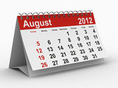 Kalendarz 2012 roku. sierpień. na białym tle obraz 3d — Zdjęcie stockowe