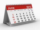 Kalendář pro rok 2012. červen. izolované 3d obraz — Stock fotografie