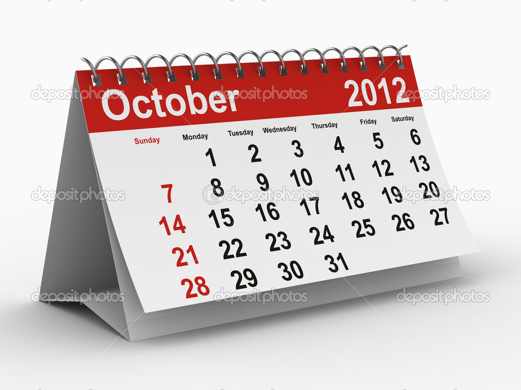 2012 year calendar. October. Isolated 3D image — Stock Photo #4584744