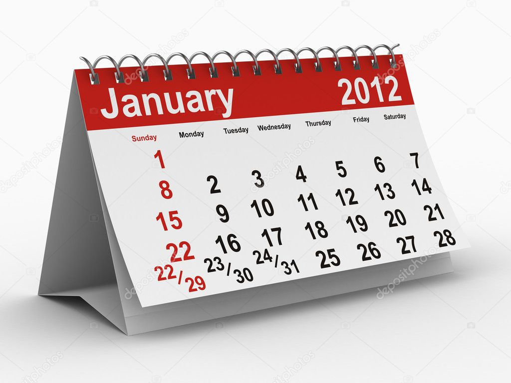 2012 year calendar. January. Isolated 3D image — Stock Photo #4584932
