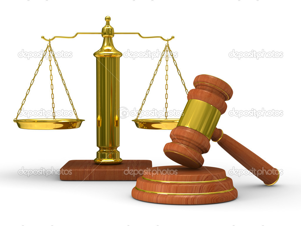 Scales justice and hammer on white background. Isolated 3D image  Stock Photo #4595358