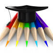 Set pencils on white background. Isolated 3D image - Stock Photo