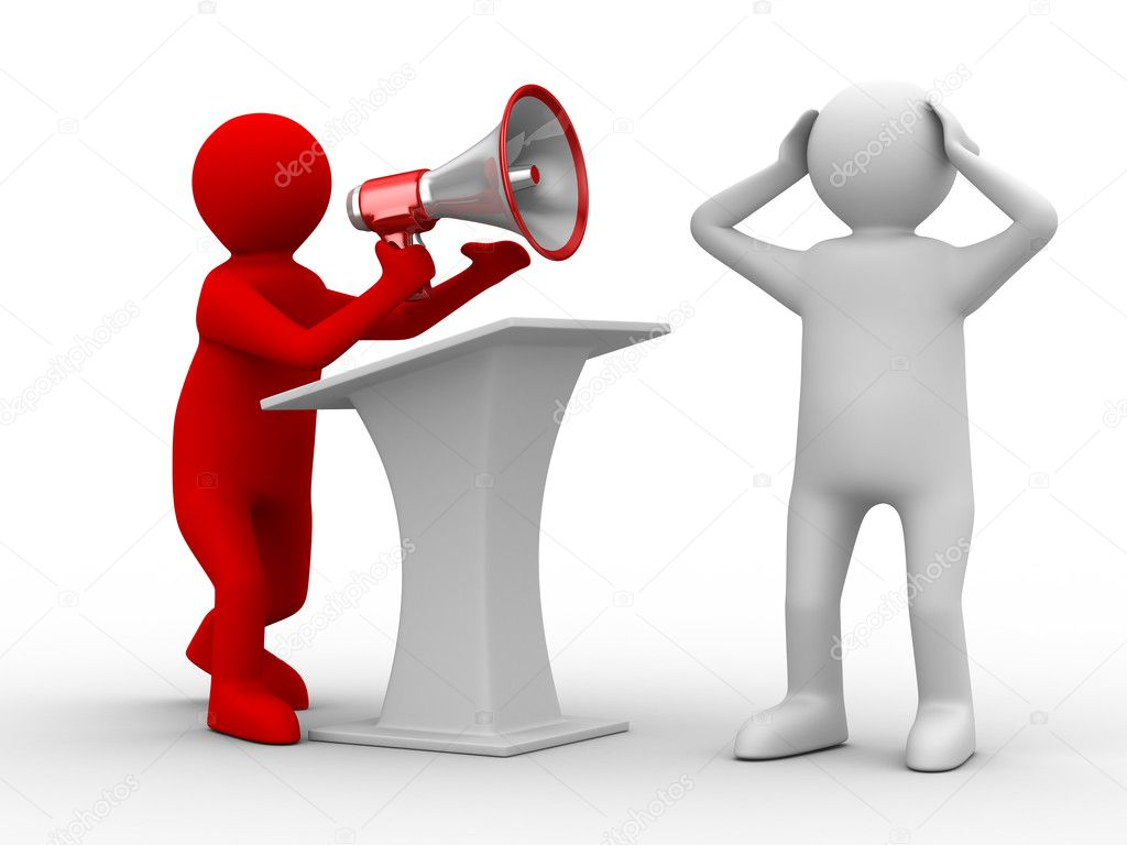 Orator speaks in megaphone. Isolated 3D image — Stock Photo #4622411