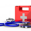 Stethoscope and first aid on white background. Isolated 3D image — Stock Photo