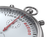 Time for action. Stopwatch on white background. Isolated 3D imag — Stock Photo