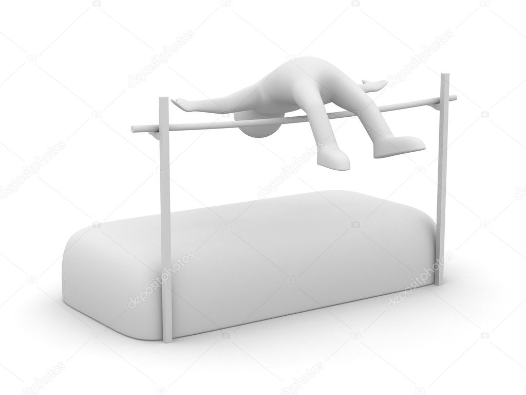 High jumps. Track and field athletics. Isolated 3D image  Foto de Stock   #4879062