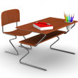 School desk and chair. Isolated 3D image — Stock Photo
