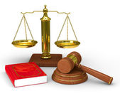 Scales justice and hammer on white background. Isolated 3D image — Stock Photo
