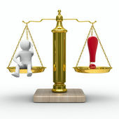 Man and exclamation point on scales. Isolated 3D image — Stock Photo