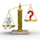 Homem e pergunta sobre escalas. imagem 3d isolada — Fotografia Stock