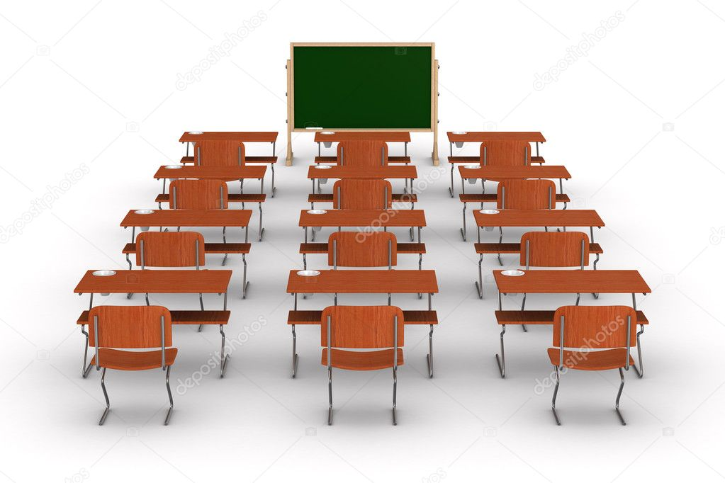 Classroom on white background. Isolated 3D image — Stock Photo #5120976
