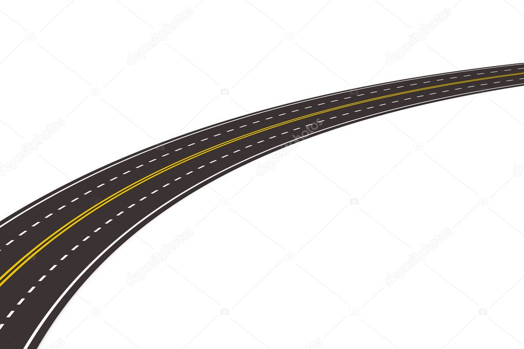 Asphalted road on white. Isolated 3D image  Stock Photo #5130903