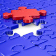 Blue puzzle and one red. Isolated 3D image — Stock Photo