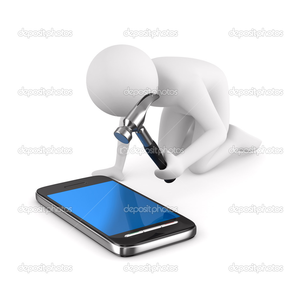 Man repairs phone. Isolated 3D image on white — Stock Photo #5172680