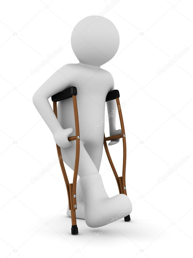 Man on crutches on white background. Isolated 3D image  Stock Photo #5178319