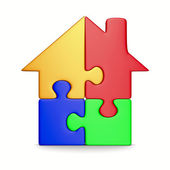 House from puzzle on white. Isolated 3D image — Stock Photo