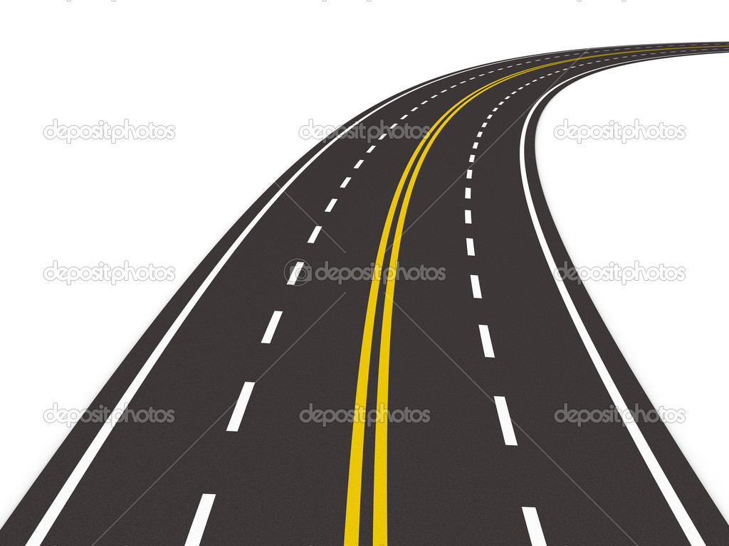 Asphalted road on white. Isolated 3D image — Stock Photo #5225438