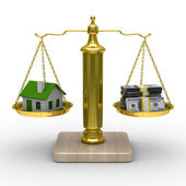 House and cashes on scales. Isolated 3D image — Stock Photo