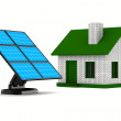 Solar battery and house on white background. Isolated 3d image — Stock Photo
