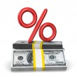 Percent on pack of dollars. Isolated 3D image — Stock Photo