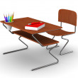 School desk and chair. Isolated 3D image — Стоковое фото