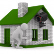 Man looks out of corner. 3D image — Stockfoto