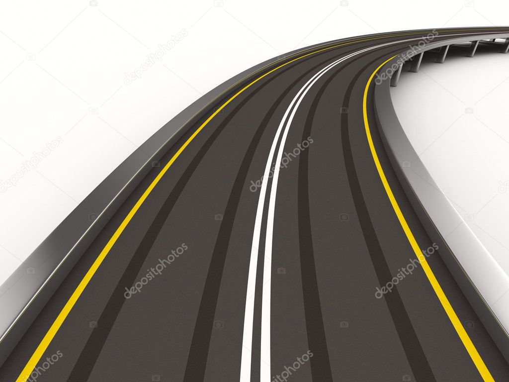 Asphalted road on white. Isolated 3D image — Stock Photo #5375801