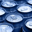 Drinking cans with dew — Stock Photo