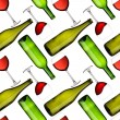 Stock Photo: Bottles and glasses seamless pattern