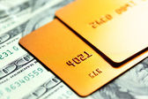 Gold credit cards — Stock Photo