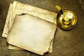 Old pages and candle — Stock Photo