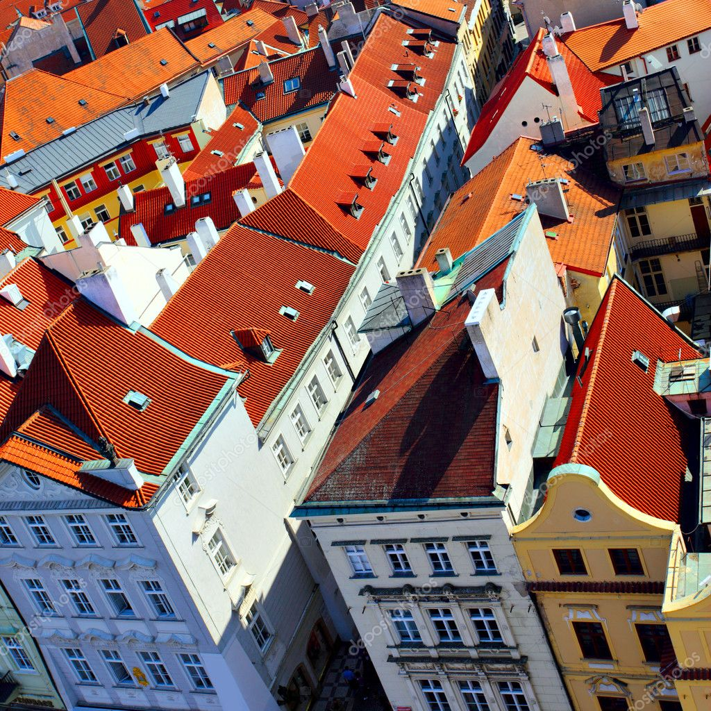 Old tiled roofs of Prague, Czech republic — Stok fotoğraf #4550338