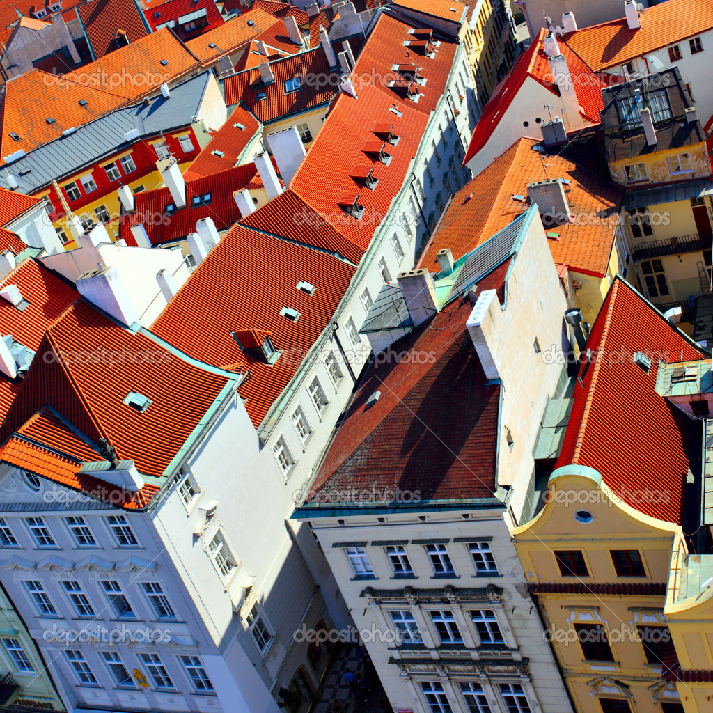 Old tiled roofs of Prague, Czech republic    #4550338