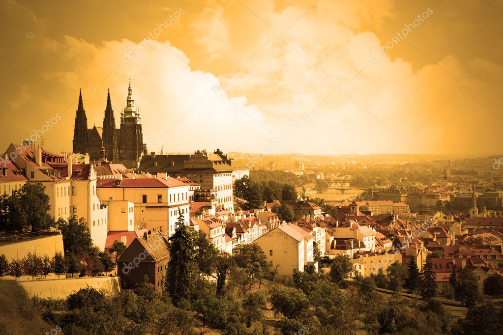 View on the Prague castle sepia toned, Chech republic  Stock Photo #4550805