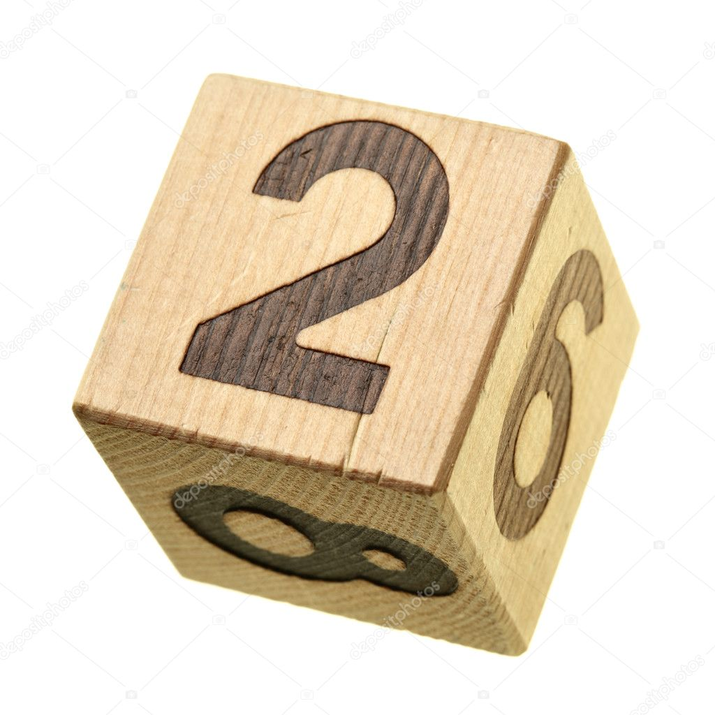 2 - Wooden blocks with digits isolated over the white background — Stock Photo #4553347