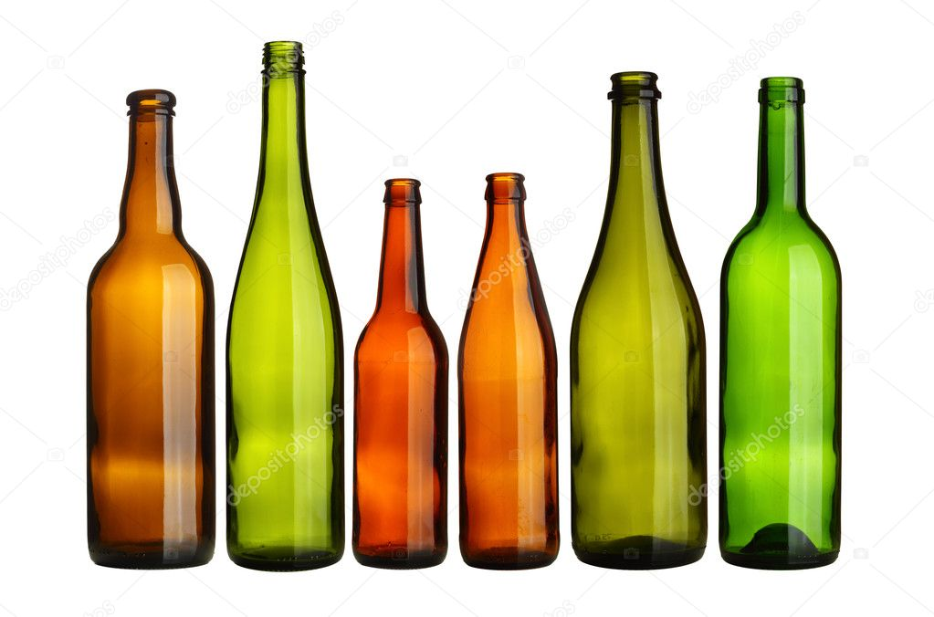 Empty bottles in a row isolated over white background — Stock Photo #4553431