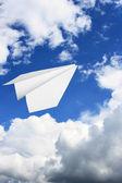 Paper plane flying — Stock Photo
