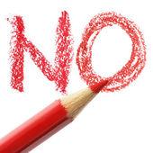 Crayon writing word NO — Stock Photo