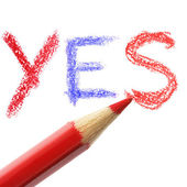 Crayon writing word YES — Stock Photo
