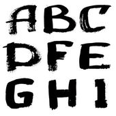 Hand written black ink alphabet — Stock Photo